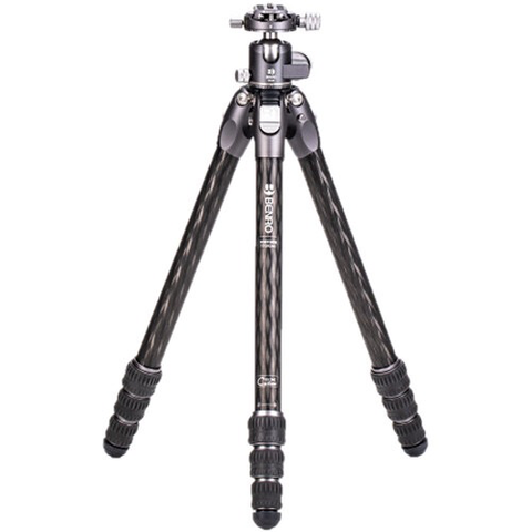 Benro Tortoise Columnless Carbon Fiber Two Series Tripod with GX30 Ballhead, 4 Leg Sections, Twist Leg Locks, Padded Carrying Case (TTOR24CGX30)