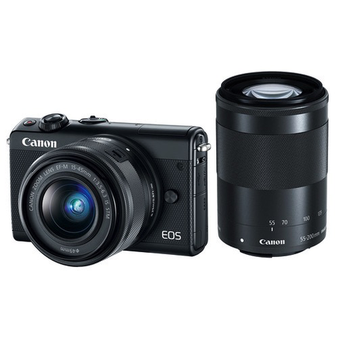 Canon EOS M100 Mirrorless Digital Camera with 15-45mm and 55-200mm Lenses (Black) by Canon at bandccamera