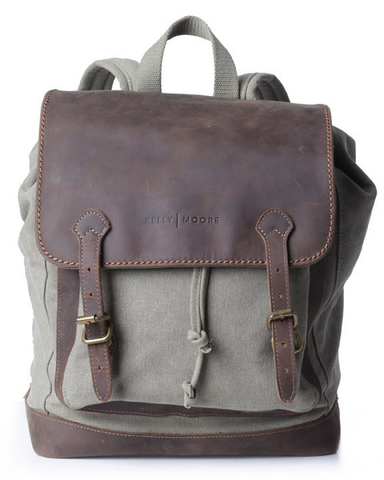 Kelly Moore Bag - Pilot - Moss Green/Brown Canvas Backpack by Kelly Moore at bandccamera