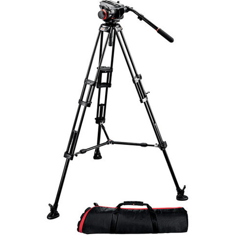 Manfrotto 504HD Head with 546B 2-Stage Aluminum Tripod System by Manfrotto at bandccamera
