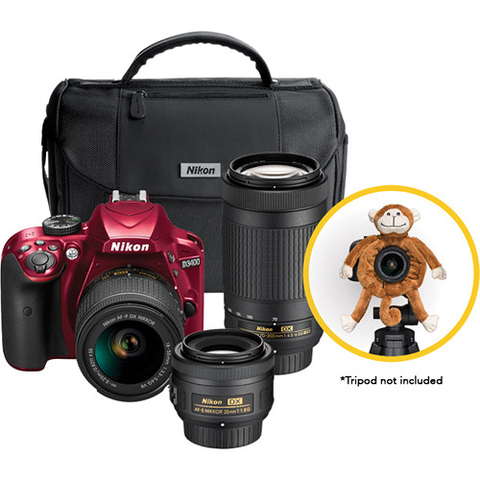Nikon D3400 DSLR Triple Lens Parent's Camera Kit (Red) by Nikon at bandccamera