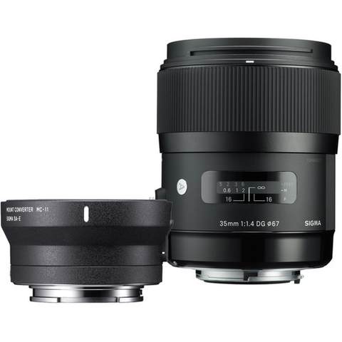 Sigma 35mm f/1.4 DG HSM Art Lens for Canon and MC-11 Mount Converter/Lens Adapter for Sony Kit