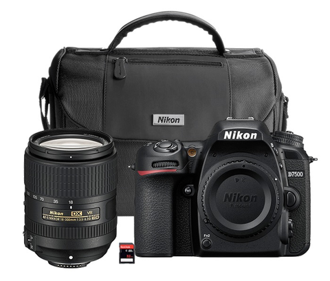 Nikon D7500 with AF-S DX NIKKOR 18-300mm f/3.5-6.3G ED VR Lens Kit + Camera Bag and 32GB SD Memory Card by Nikon at B&C Camera