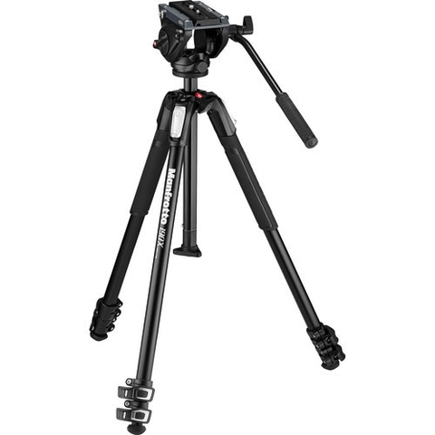 Manfrotto MT190X3 3-Section Aluminum Tripod with MVH500AH Fluid Head Hybrid Video Kit by Manfrotto at B&C Camera