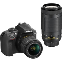 Nikon D3400 W 18-55mm VR & 70-300mm F/4.5-6.3G ED Double Zoom Lens Kit by Nikon at B&C Camera