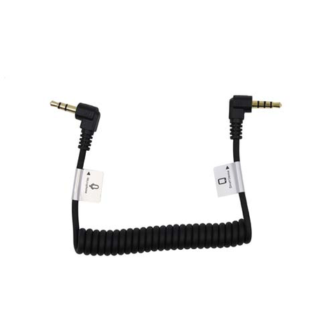 "Audio Cable 3.5mm TRRS male right angle - 3.5mm TRS male right angle - 8 1/2"" coiled"