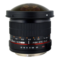Rokinon 8mm f/3.5 HD Fisheye Lens - Canon EF Mount - B&C Camera