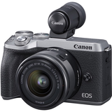Canon EOS M6 Mark II Mirrorless Digital Camera with 15-45mm Lens and EVF-DC2 Viewfinder (Silver) by Canon at B&C Camera