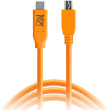 Tether Tools TetherPro USB Type-C Male to 5-Pin Micro-USB 2.0 Type-B Male Cable (15', Orange)