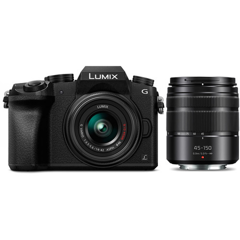 Panasonic Lumix DMC-G7 Mirrorless Micro Four Thirds Digital Camera with 14-42mm and 45-150mm Lenses (Black) by Panasonic at B&C Camera
