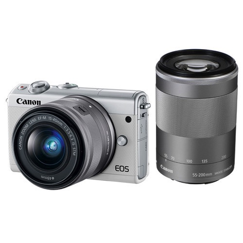 Canon EOS M100 Mirrorless Digital Camera with 15-45mm and 55-200mm Lenses (White) by Canon at B&C Camera