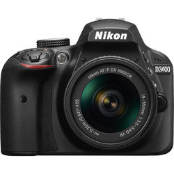 Nikon D3400 W/AF-P DX 18-55 VR (BLACK) by Nikon at B&C Camera