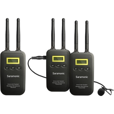 Saramonic VmicLink5 RX+TX+TX Camera-Mount Digital Wireless Microphone System with Two Transmitters and Lavalier Mics (5.8 GHz) by Saramonic at B&C Camera