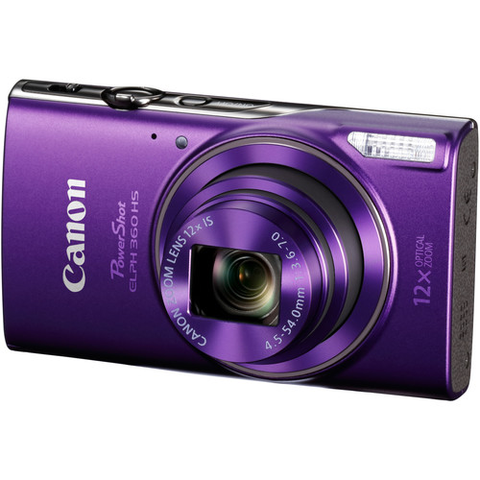 Canon PowerShot ELPH 360 HS Digital Camera (Purple) by Canon at B&C Camera