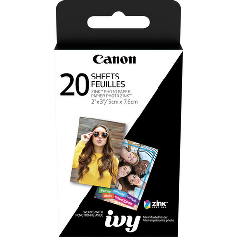 "Canon 2 x 3"" ZINK Photo Paper Pack (20 Sheets) for Canon IVY"