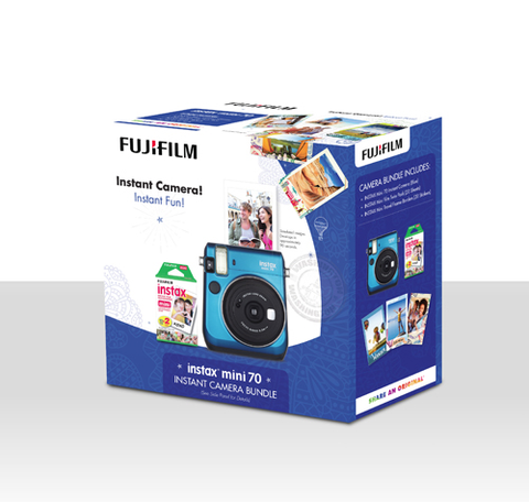 Fuji Instax Mini 70 Instant Camera Bundle - Blue