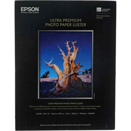 "Epson Ultra Premium Luster Photo Paper for Inkjet - 8.5x11"" (50 Sheets) - B&C Camera"