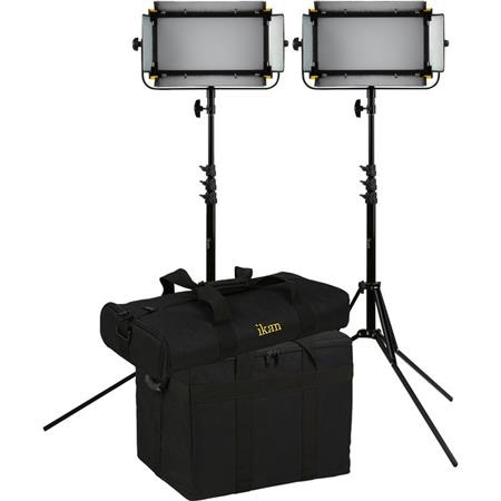 "iKan Mylo Soft Bi-Color 2-Point LED Light Kit, Includes 2x Barndoors, 2x Compact Light Stands, 2x Dual Battery Charger, 2x Yoke, 4x Sony ""L"" Series Style Batteries"