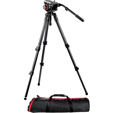 Manfrotto 504HD Head with 535 2-Stage Carbon Fiber Tripod System by Manfrotto at bandccamera