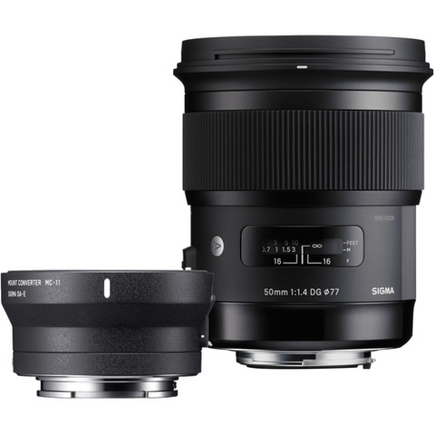 Sigma 50mm f/1.4 DG HSM Art Lens for Canon and MC-11 Mount Converter/Lens Adapter for Sony Kit - B&C Camera
