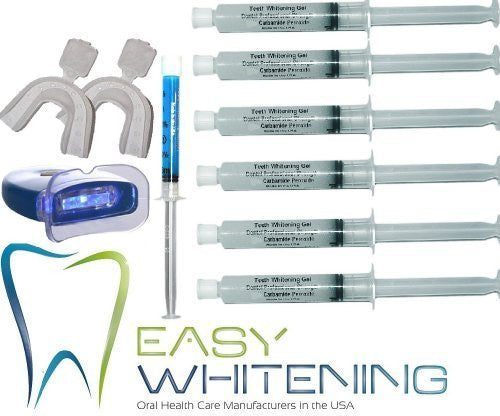 VitaBrights Teeth Whitening Kit -Led Light + 60 Cc (6x10cc) Peroxide Carbamide 35% + Remineralization 3cc FCP Enamel Gel+2 Trays