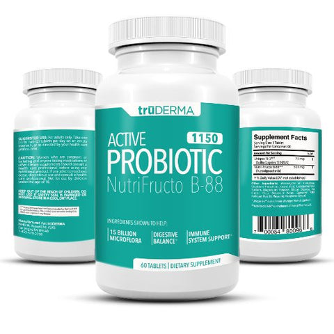 truDERMA Active Probiotics 1150 mg | Support Digestive Balance Gut Health and Immune System | 15 Billion Microflora CFU's and 500 mg of Prebiotics | 60 Tablets - 60 Day Supply