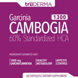 truDERMA Garcinia Cambogia Extract 1300 mg | Weight Loss Support and Appetite Control Supplement | Pure and Natural 60% HCA - 60 Capsules - 30 Day Supply