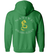 Load image into Gallery viewer, Native Amaru-Khan Zip Hoodie - Mayan Gold Dragon