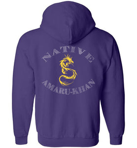 Native Amaru-Khan Zip Hoodie - Mayan Gold Dragon