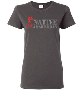 Women's Native Amaru-Khan Red & White Tee -2