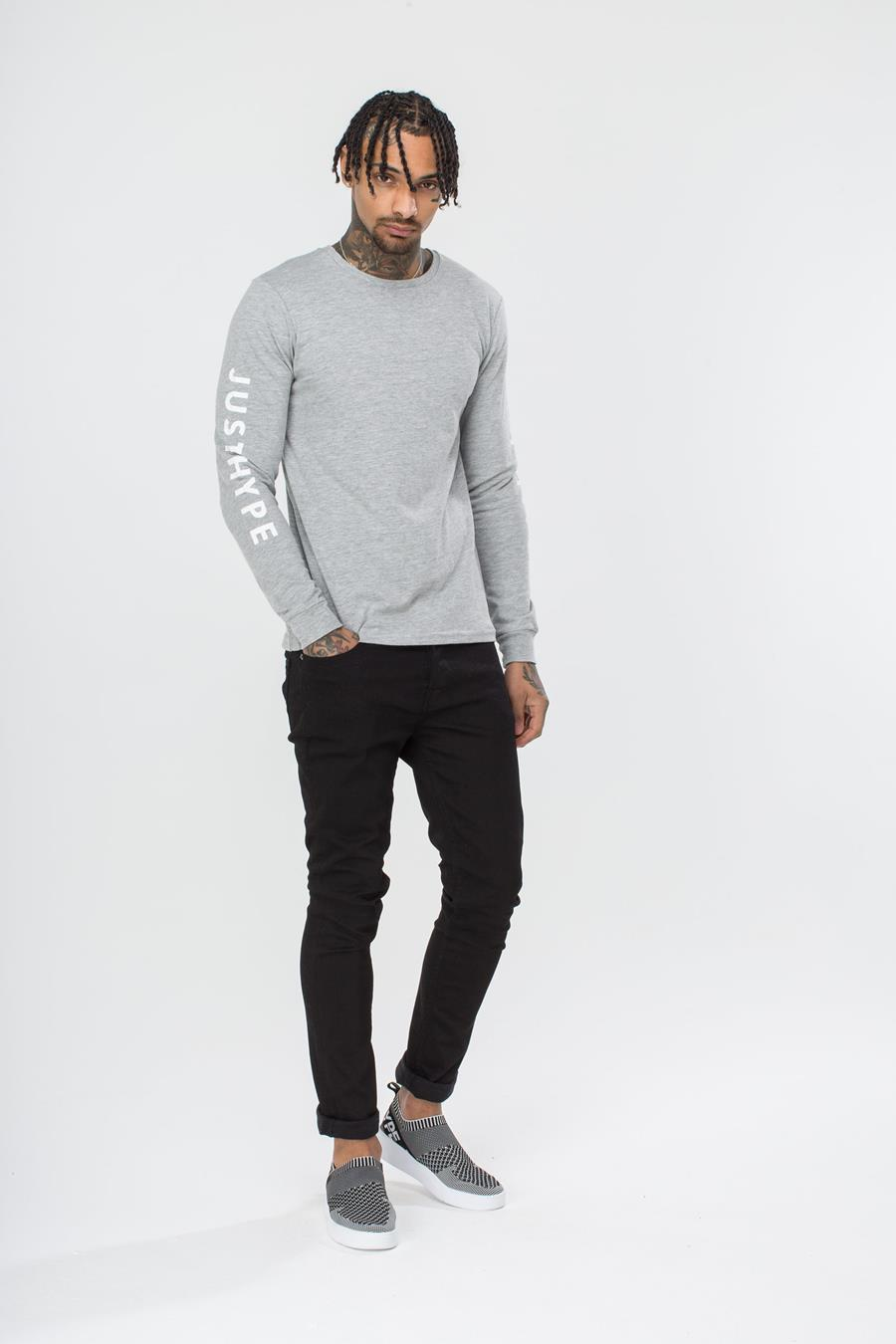 HYPE GREY JUSTHYPE MEN'S L/S T-SHIRT