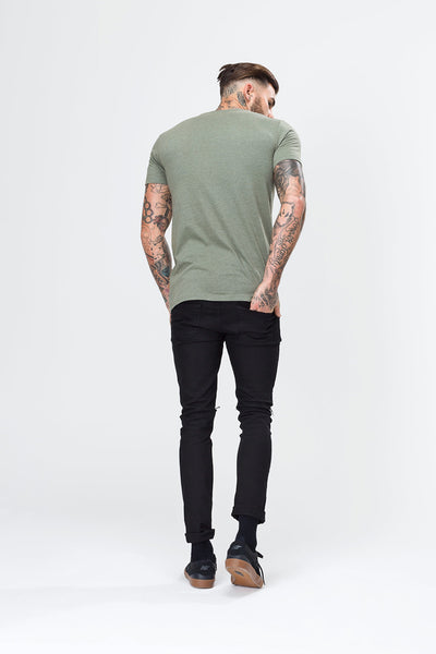 HYPE BASIC LOGO  MILITARY GREEN/WHITE  MEN'S T-SHIRT