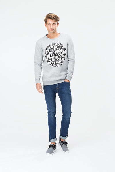 JUSTHYPE TEXT CIRCLE  GREY  MEN'S CREWNECK