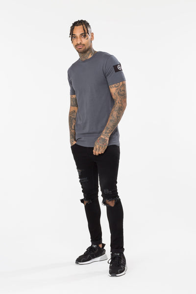 HYPE INSIGNIA MEN'S T-SHIRT-CHARCOAL