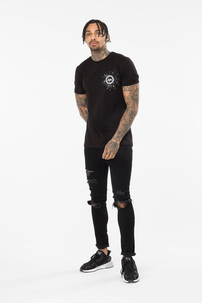 HYPE SPECKLE CREST MEN'S T-SHIRT-BLACK/WHITE