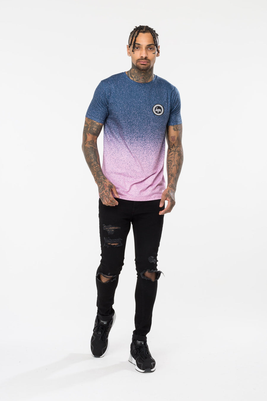 HYPE SPECKLE FADE MEN'S T-SHIRT-BLUE/PINK