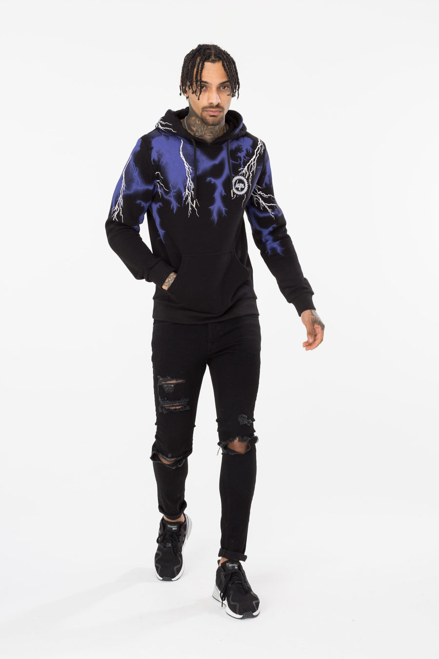 HYPE LIGHTNING NECK MEN'S PULLOVER HOODIE