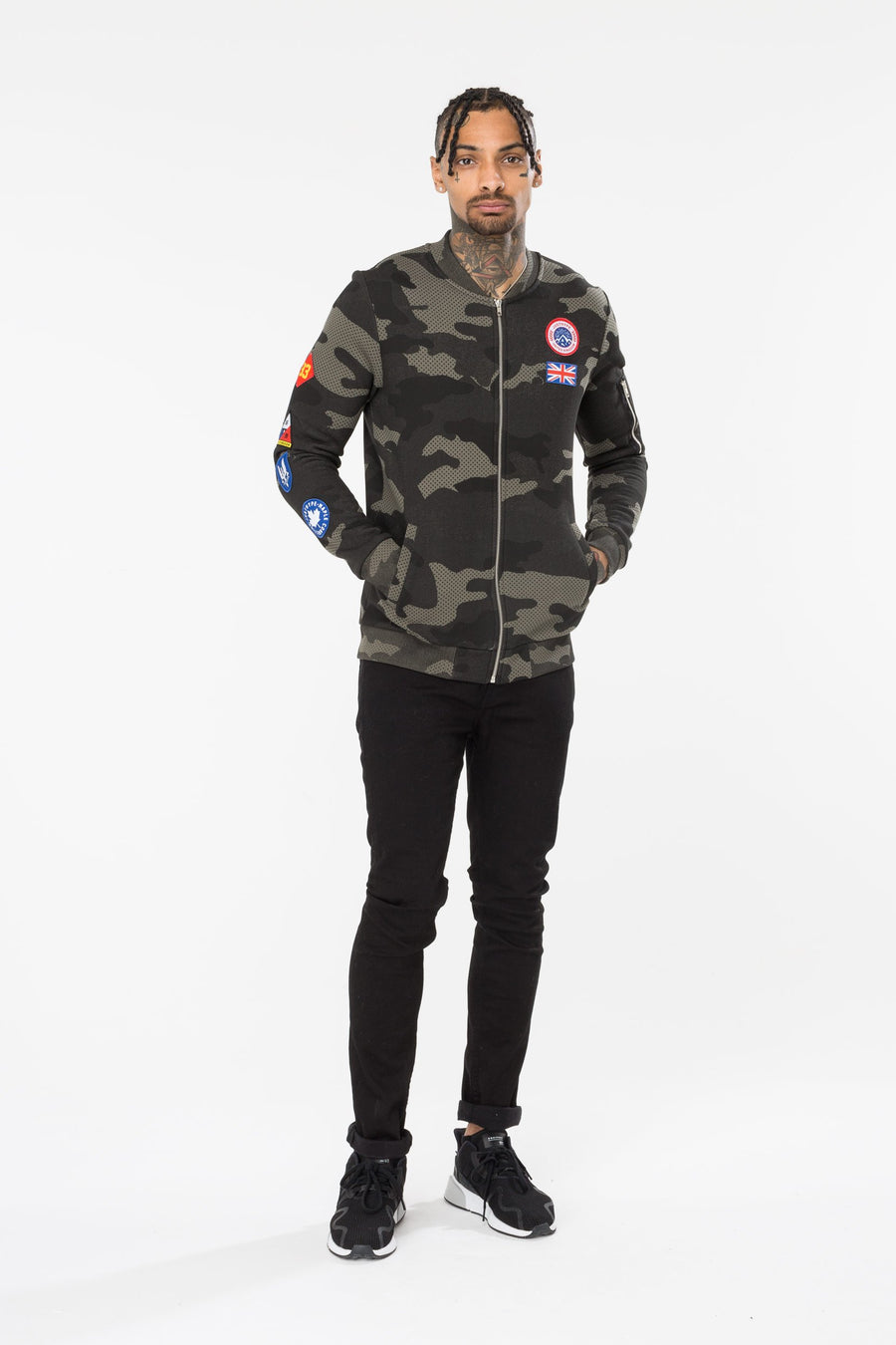HYPE CAMO PATCHES MEN'S BOMBER JACKET