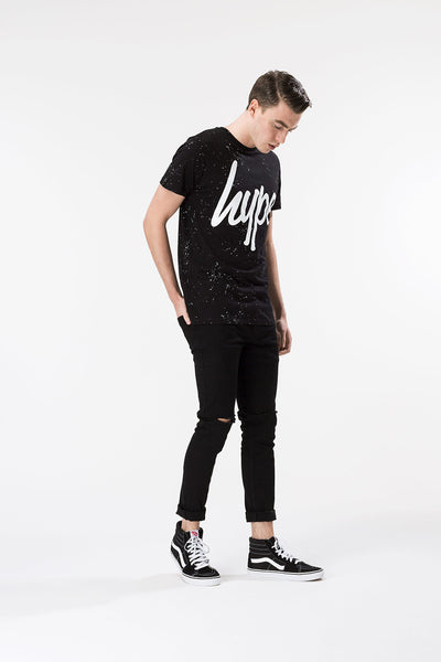 HYPE AOP SPECKLE  BLACK/WHITE  MEN'S T-SHIRT