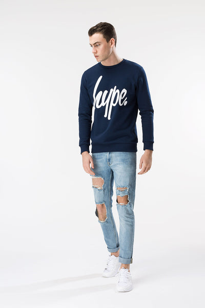 HYPE SCRIPT  NAVY/WHITE  MEN'S CREWNECK