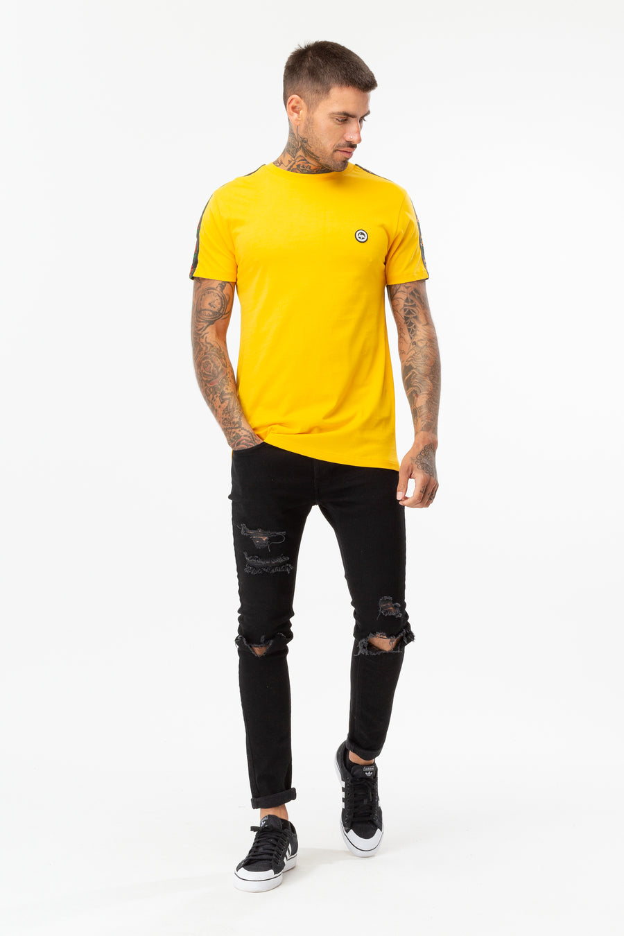 HYPE YELLOW SPANISH FLORAL BACK MEN'S TEE