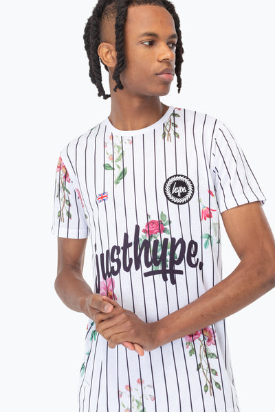 HYPE WHITE FLORAL BASEBALL MEN'S T-SHIRT