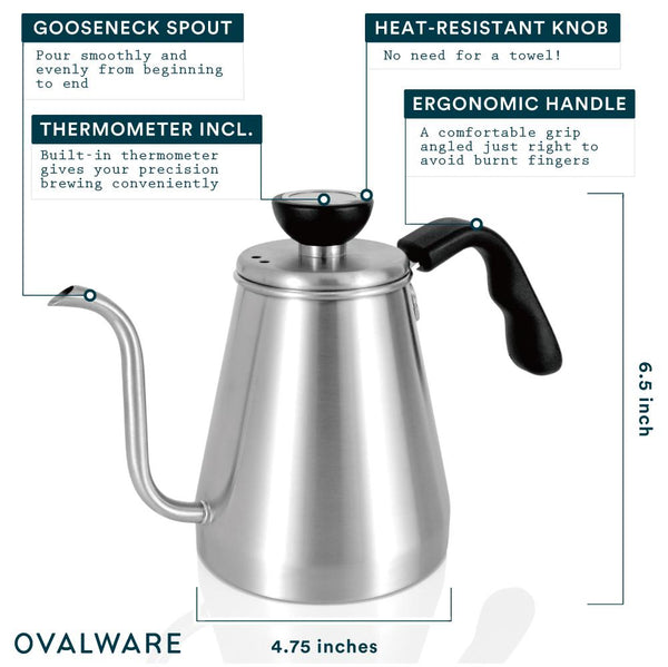 OVALWARE specialty coffee equipment gooseneck kettle with thermometer