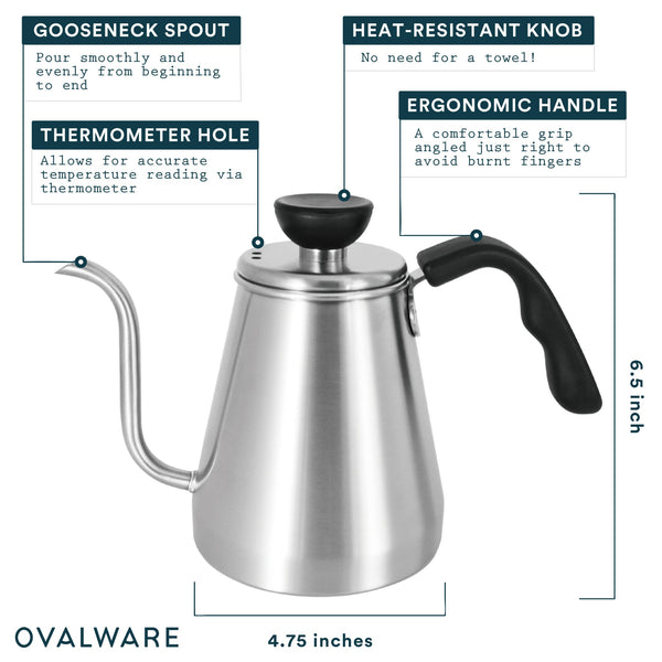 OVALWARE specialty coffee equipment gooseneck stainless steel pour over kettle