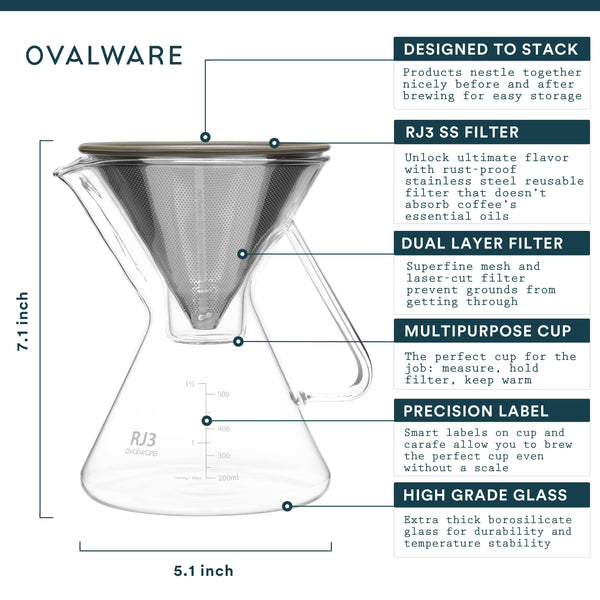 OVALWARE specialty coffee equipment pour over coffee maker with filter