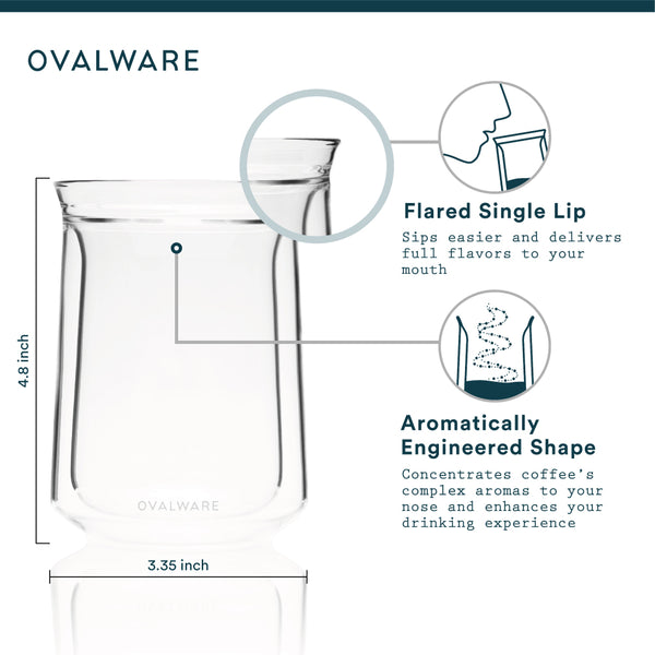 OVALWARE specialty coffee equipment double wall tasting glass specs