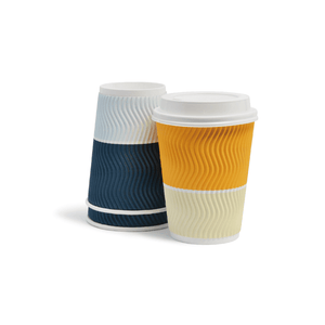 Wave Disposable Paper Cups Mixed Color by Ovalware