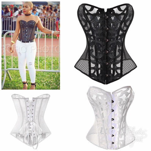 FISH NET LACED BACK CORSET