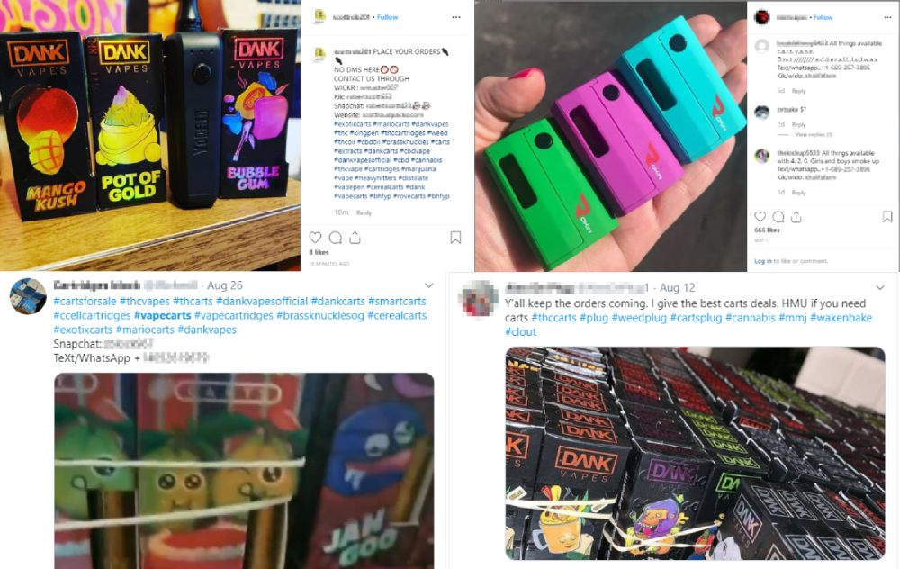 illegal sales of thc vape carts online