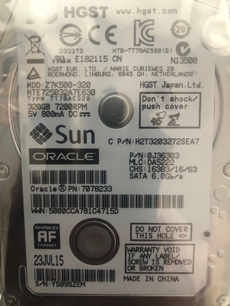 "Hitachi HTE725032A7E630 (0J36303) 320GB, 7200RPM, 3.5"" Internal Hard Drive - Anand International Inc."